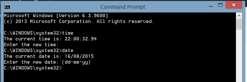 Windows Command Prompt time and date commands